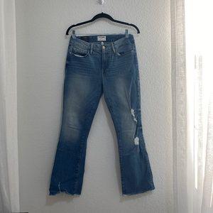 FRAME Light Blue Denim Womens Boot Cut w Rip Detail Jeans Size 27